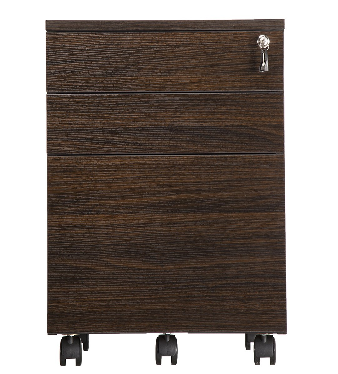 TOPSKY 3 Drawer Wood Mobile File Cabinet Fully Assembled Except Casters (WALNUT) by TOPSKY (Image #2)