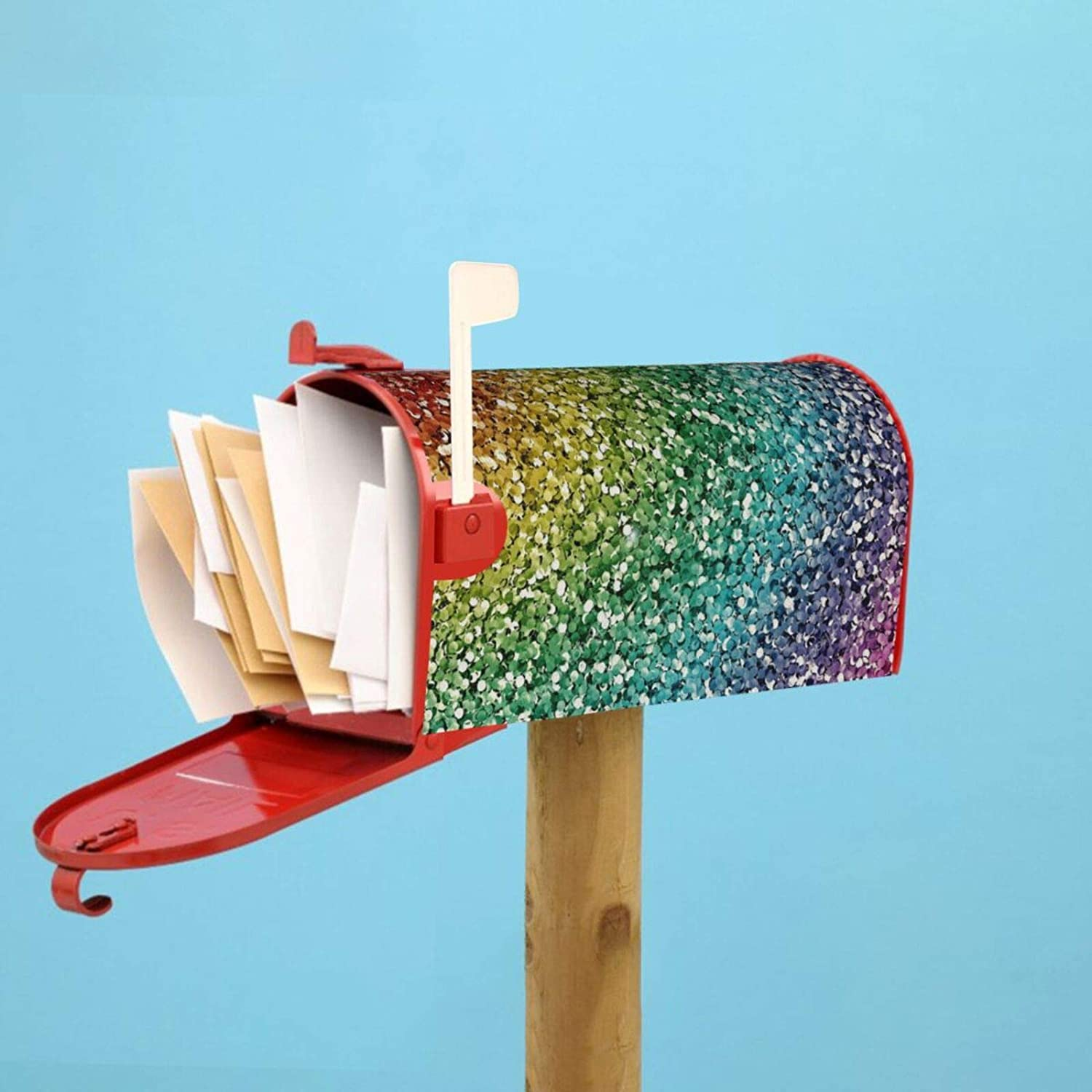 antcreptson Luxury Rainbow Glitter Mailbox Covers Magnetic New Year Mailbox Wraps Post Letter Box Cover Garden Home Decorations Standard Size 21 X 18