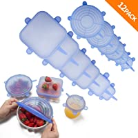 Silicone Stretch Lids 12-Pack, Food Grade Reusable Food and Bowl Covers, Various Sizes and Shapes, No More Plastic Wraps (Blue)