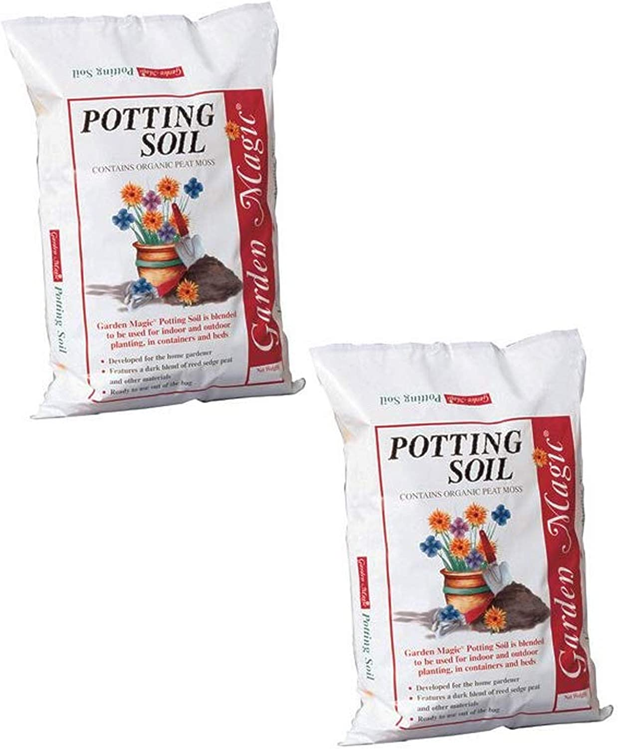 Michigan Peat Garden Magic Indoor and Outdoor Organic Planting Potting Top Soil Blend Mix, 40 Pound Bag (2 Pack)