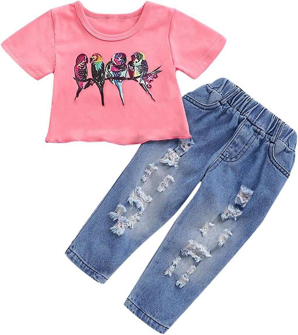 Baby Girls Estampado de aves Camiseta de manga corta Camiseta Top + Cintura elástica Pantalones Denis rotos Jeans Conjuntos Conjuntos (Size : 80): Amazon.es: Bebé