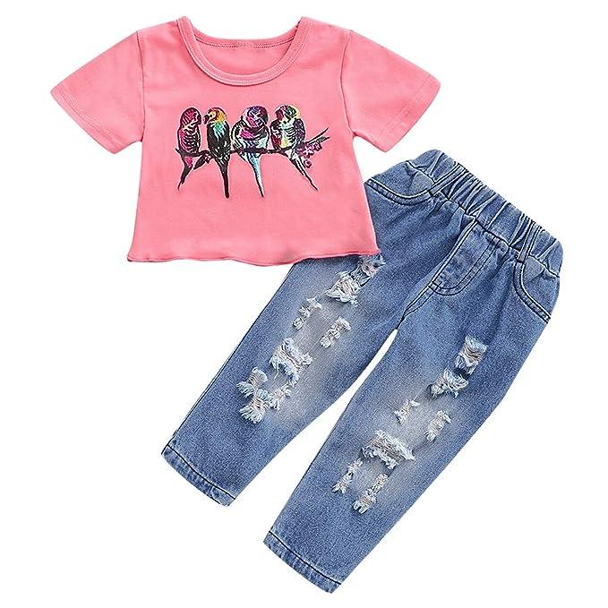 Baby Girls Bird Print Camiseta Corta Top + Pantalones Denis ...
