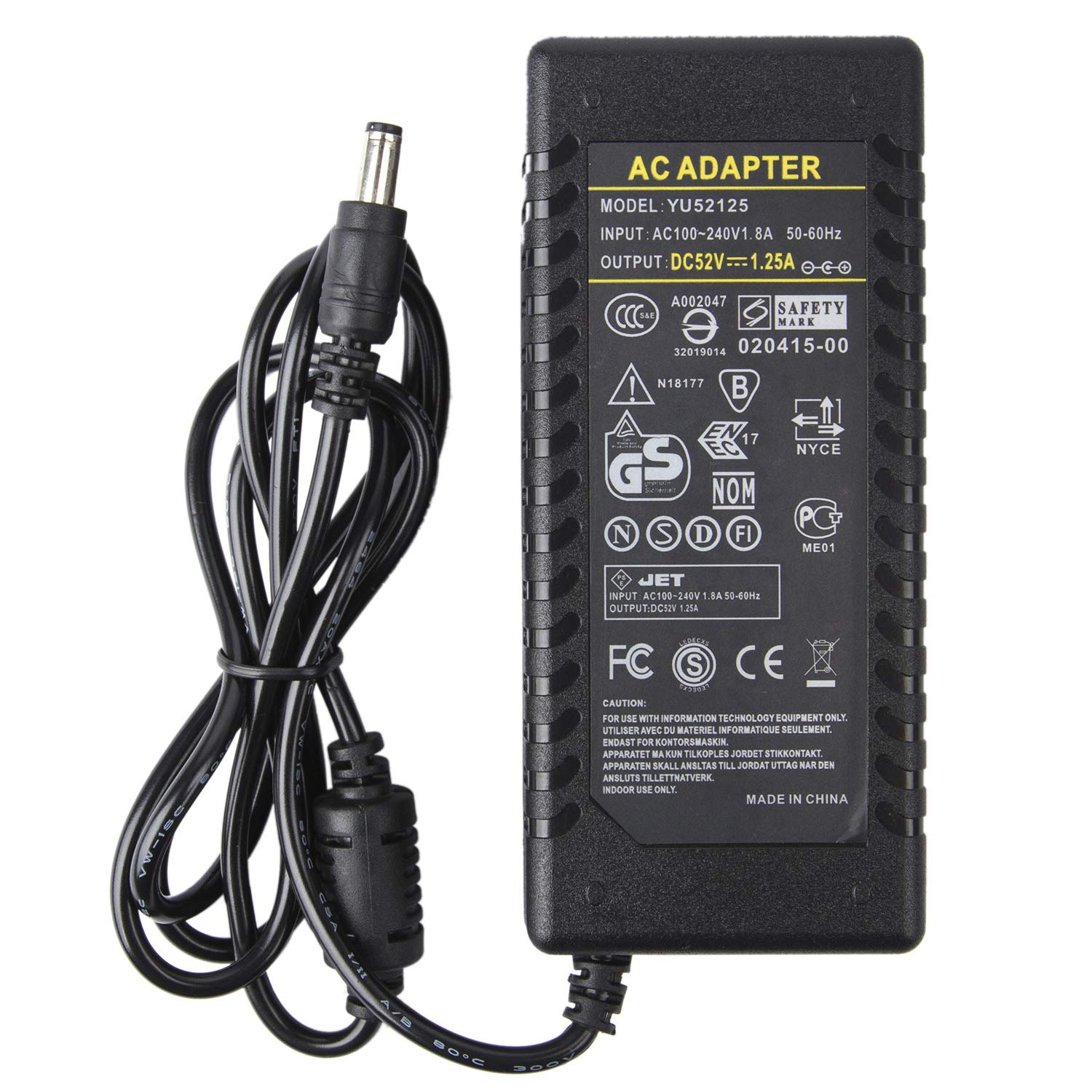 COOLM 52V 2A 104W AC Adapter Power Charger Interface 5.5x2.5mm Suitable for Game Machine, Language Repeater, Notebook Computer 52V2A