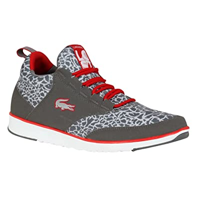 f4f62d0a8 Lacoste Mens Light Base Cp Trainers Lace Up Sport Shoe Sneakers Footwear  Mid Top Dk Grey Red UK 10(44.5)  Amazon.co.uk  Shoes   Bags
