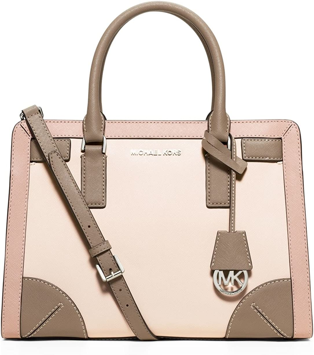 Michael Michael Kors Womens Corner Frame Dillon Top Zip East West Satchel EcruBalletDark Taupe
