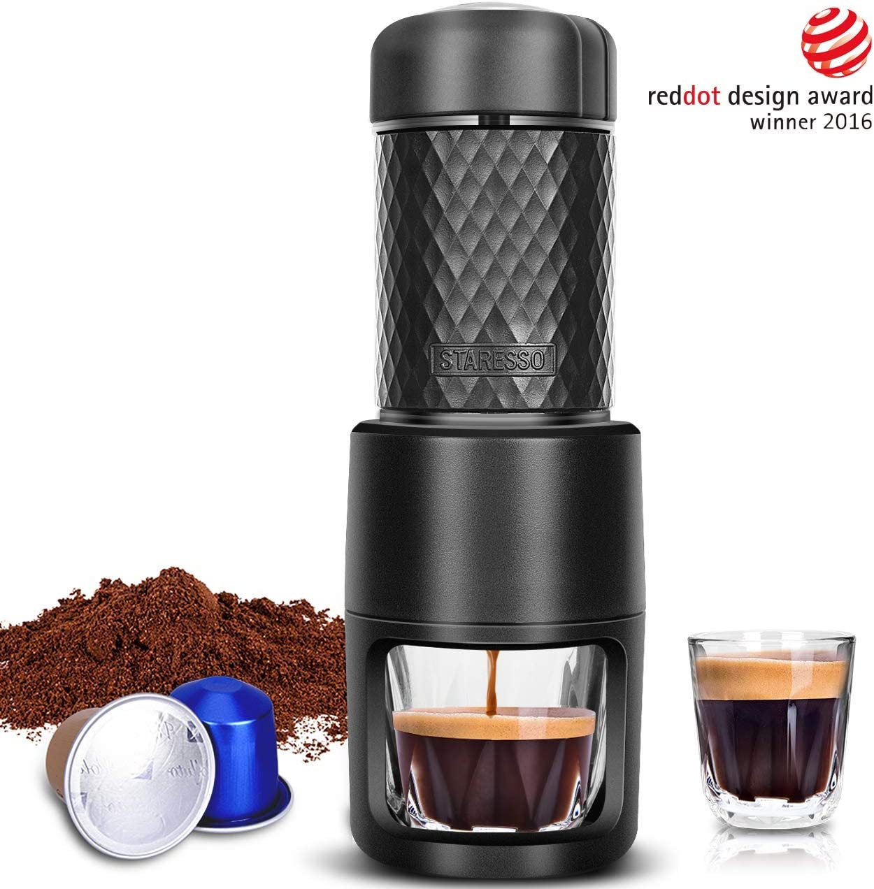 STARESSO Portable Espresso Machine - Manual Espresso for Rich & Thick Crema Mini Espresso Maker Compatible with Nespresso Pods & Ground Coffee Small ...