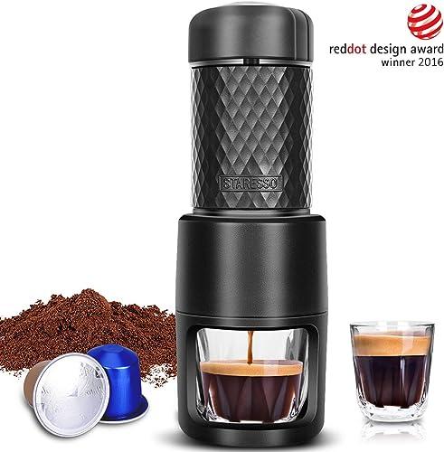 STARESSO Portable Espresso Machine - Manual Espresso with Rich & Thick Crema, Mini Coffee Maker Using Ground Coffee & Nespresso Pods
