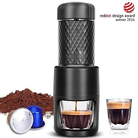 STARESSO Portable Espresso Machine - Manual Espresso for Rich & Thick Crema Mini Espresso Maker Compatible with Nespresso Pods & Ground Coffee Small ...
