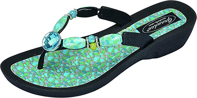 Grandco Womens Mood Thong Jeweled Flip-Flop Sandal