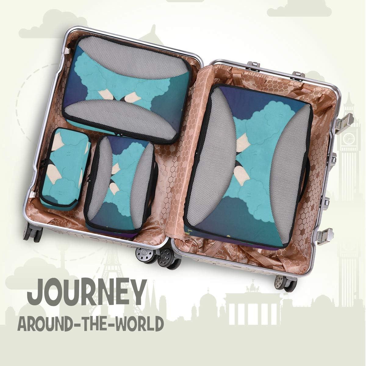 4 Set Packing Cubes Travel Luggage Packing Organizers Dancing Llama