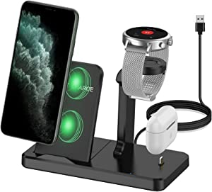 Kartice Charger Stand Compatible with Fossil Gen 5E 44mm 42mm Charger Multiple Charger 3 in 1 Wireless Charging Station Stand for Fossil Gen 4/Airpods Pro/iPhone 12/Gen 5 Garrett Carlyle Charger