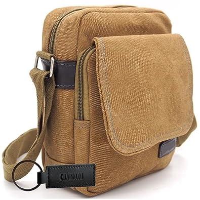 0c159fe81c Charmoni - Sacoche pochette sac à rabat en toile à voile vintage Homme Femme  (beige