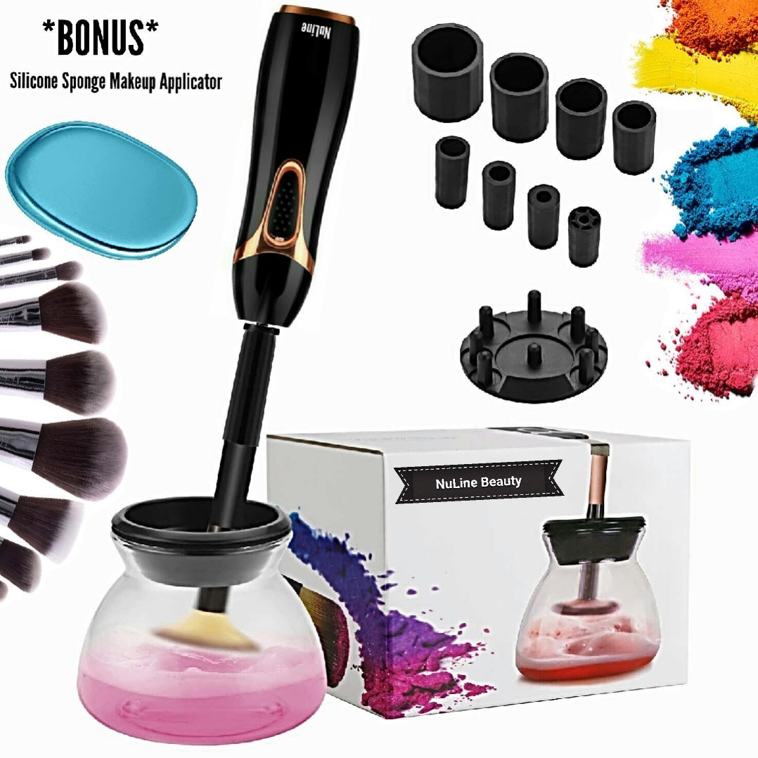 Makeup Brush Cleaner and Dryer - NuLine Upgraded Portable Automatic Electric Premium Cleaning Tool, Cleans Makeup Brushes In Seconds - FREE Bonus Silicone Sponge Applicator
