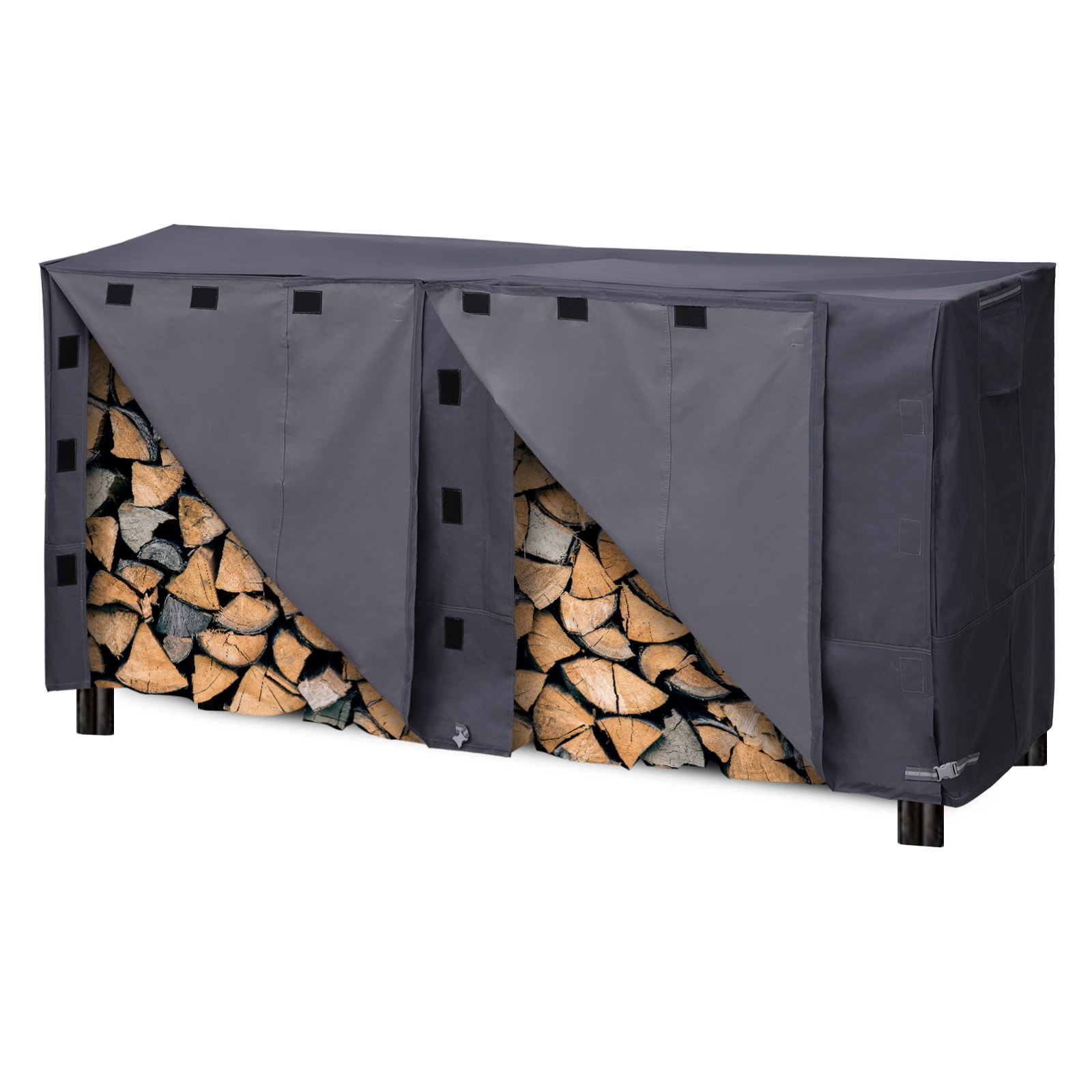 SONGMICS Heavy Duty Log Rack Cover Waterproof Firewood Cover 8ft UGLC96GY