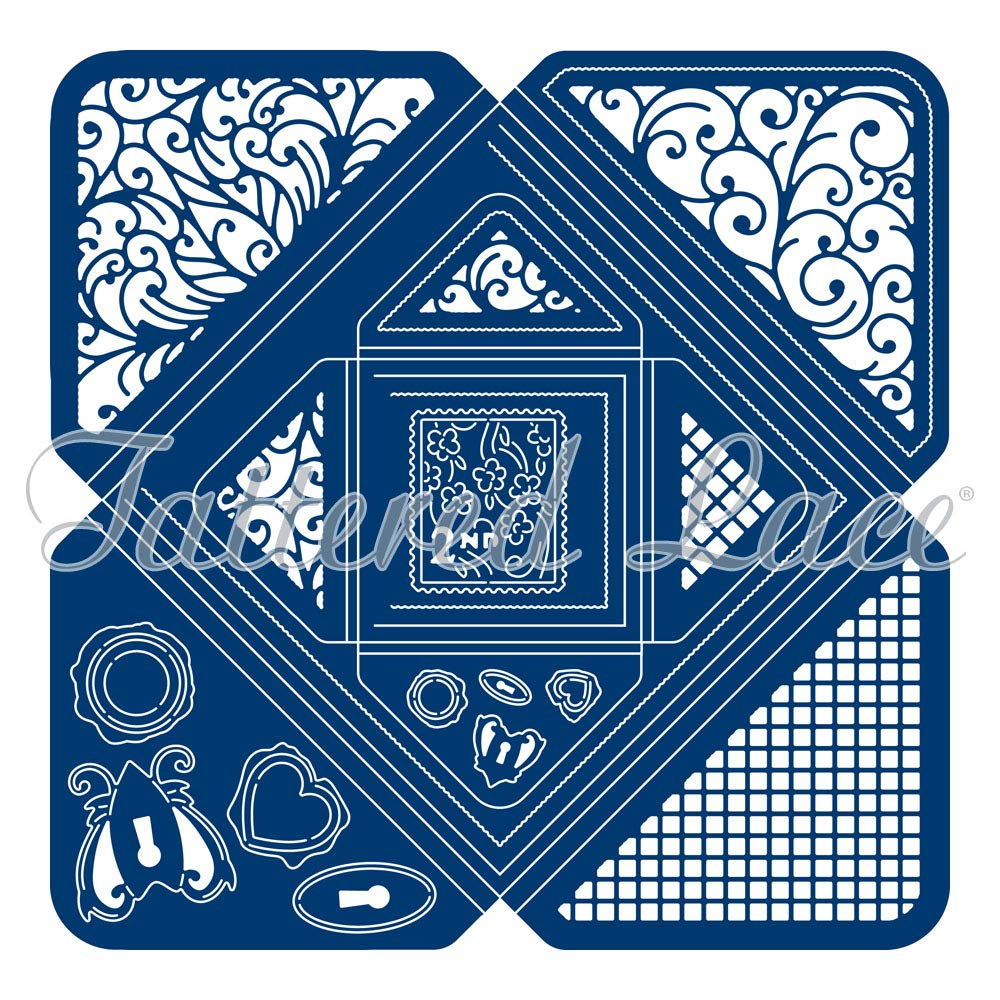Tattered Lace Square Box Envelope Cutting Die, Silver 440928