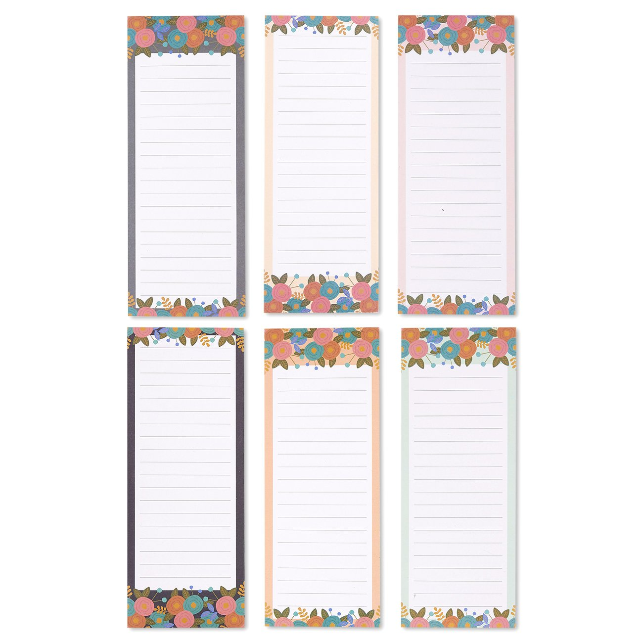 To-do-List Notepad - 6-Pack Magnetic Notepads, Grocery List Magnet Pad Stationery for To Do List, Modern Floral Designs, 60 Sheets Per Pad
