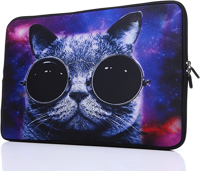 15-Inch to 15.6-Inch Laptop Sleeve Carrying Case Neoprene Sleeve for Acer/Asus/Dell/Lenovo/MacBook Pro/HP/Samsung/Sony/Toshiba, Blue Grey Cat