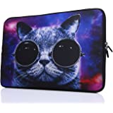 13.3-Inch to 14-Inch Laptop Sleeve Case Neoprene Carrying Bag With hidden handles For Macbook/ Notebook/ Ultrabook/ Chromebooks (blue cat)