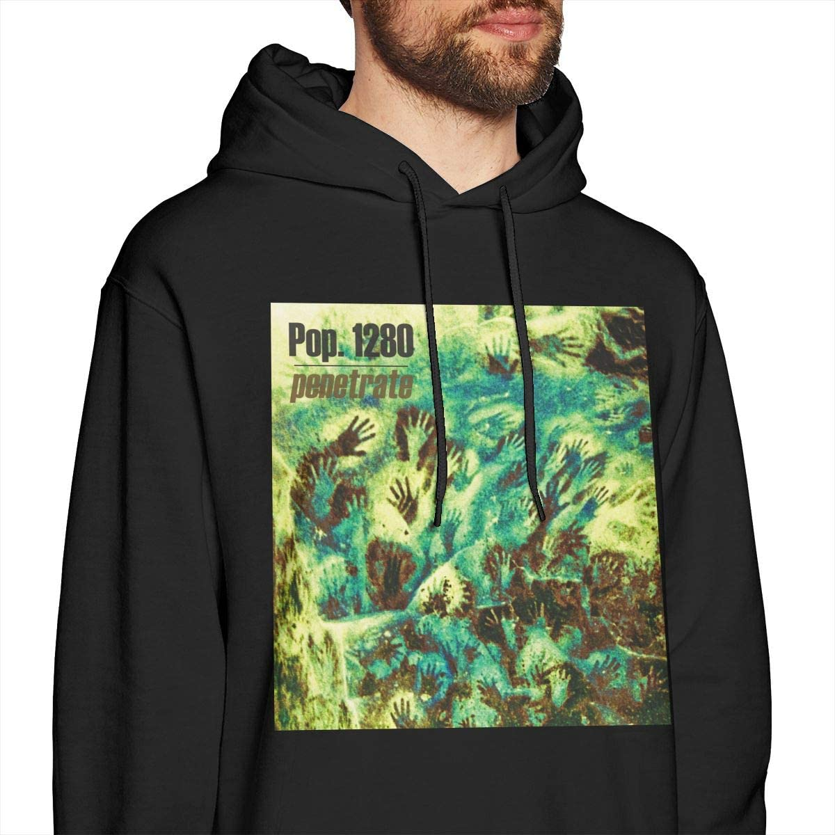 Duan Wuqing Pop 1280 Cool Mens Hat and Pocketless Sweater Black L