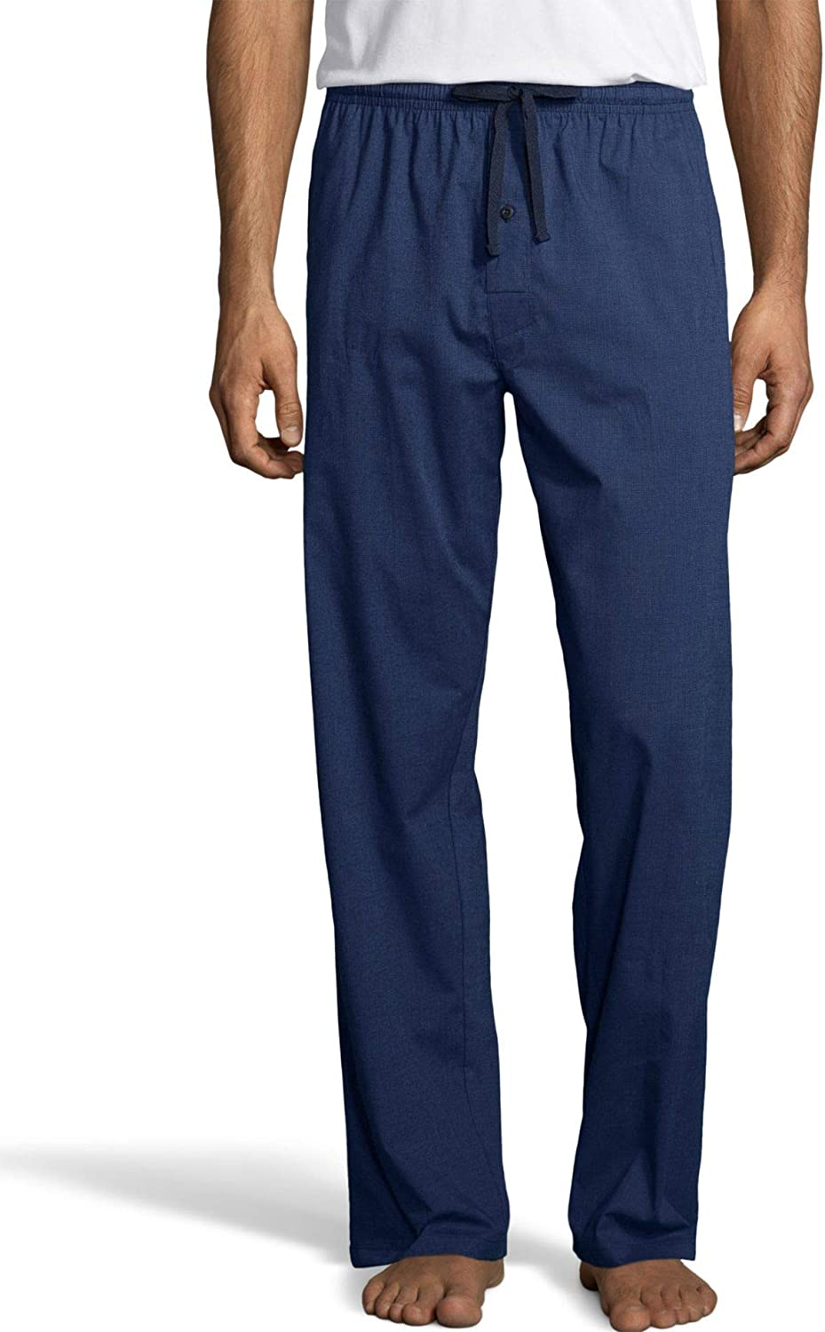 Hanes Mens Woven Stretch Plaid Pant (02000S) -Denim -M