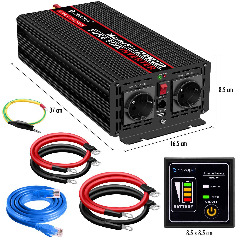 2000 W Coche Reiner Sinus - Auto Transformador de tensión 12 V en 230 V Convertidor - Inverter convertidor con 2 EU Enchufe y Puerto USB - con 5 Metros de ...
