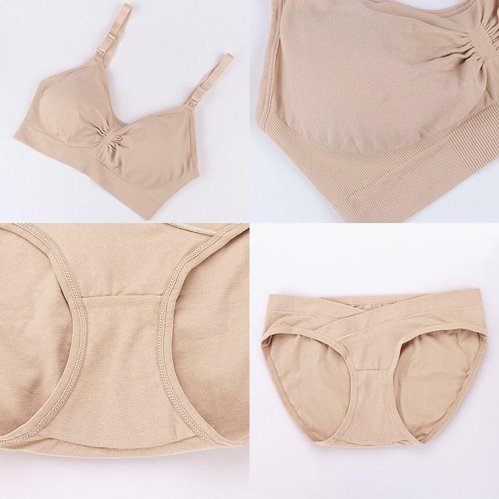 Nursing Bra Maternity 3 Pack Seamless Removable Pads /& Maternity Panties Set/…