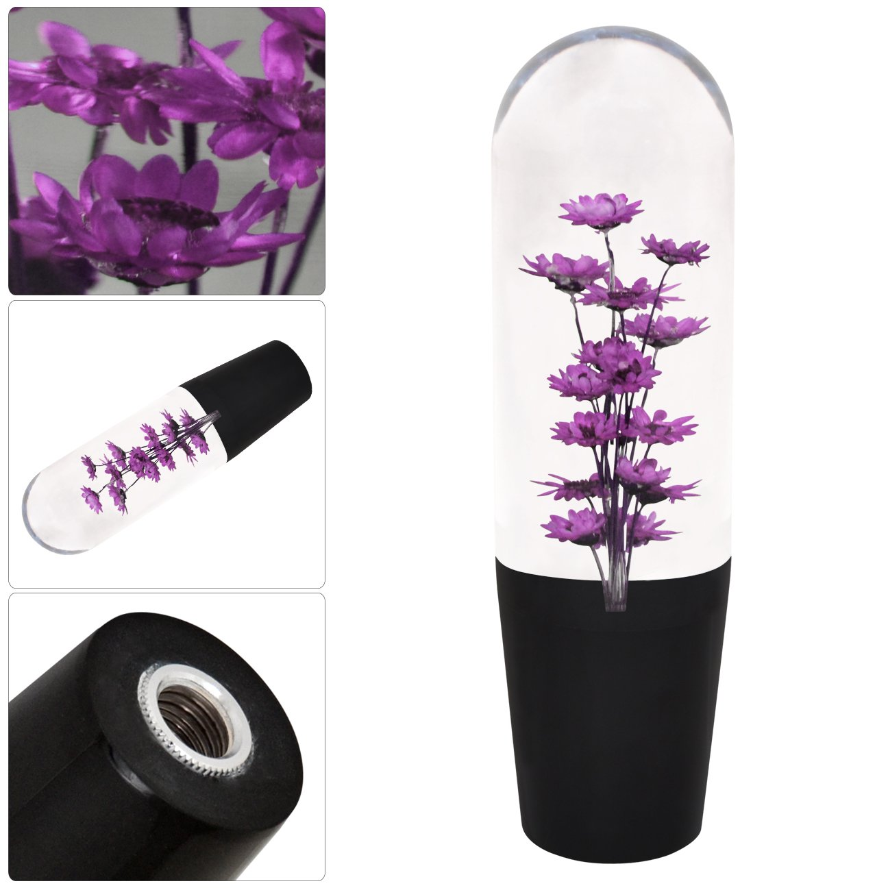 Universal 150Mm Poly Style Flower Filled Shift Knob Transparent Purple M/T