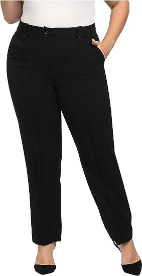 Womens 14-26 Plain Black Straight Leg Stretchy Trouser Elastic Waist Ladies