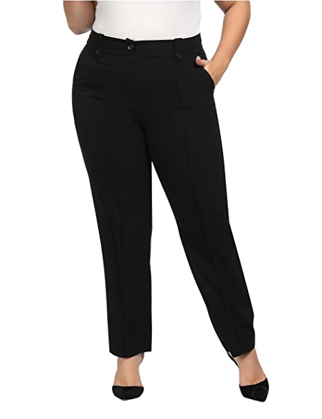 Chicwe Women\'s Plus Size Stretch Straight Leg Solid Pants with Double Tabs  Waistband - Casual and Work Pants Trousers