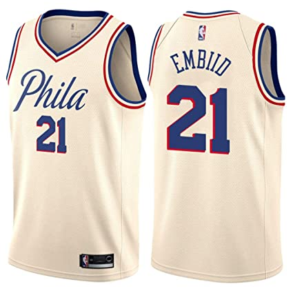 bce5007b2d19 Jordan Men s 2017-18 Philadelphia 76ers  21 Joel Embiid City Edition Cream  NBA Swingman