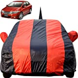Autofact Car Body Cover for Honda City Ivtech (2009 to 2013) with Mirror and Antenna Pocket (Light Weight, Triple Stitched, Heavy Buckle, Bottom Fully Elastic, Red Stripes with Navy Blue Color)