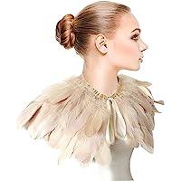 Zakia Fashion Feather Cape Stole Black White Beige Shawl Iridescent