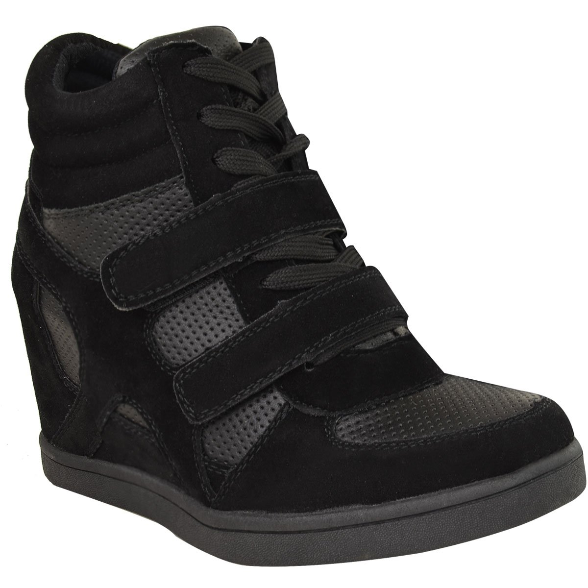 black wedge trainer boots