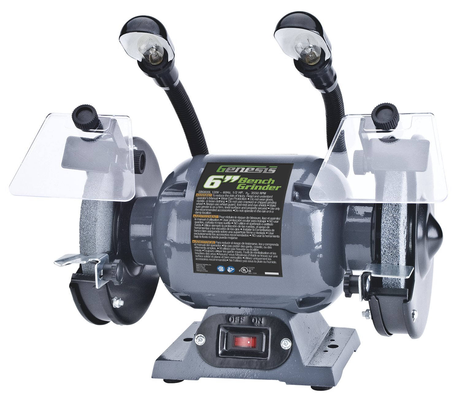 Genesis GBG600L Bench Grinder with Dual Light, 6-Inch