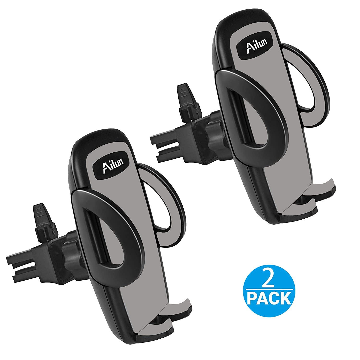 Ailun Car Phone Mount, Air Vent Cellphone Holder Cradle[2Pack] Universal Compatible with iPhone X/Xs/XR/Xs Max/8/8Plus/7, Compatible with Galaxy S9/S9+ S8/S8+, Google, LG, HTC and More Smartphones[Black] siania