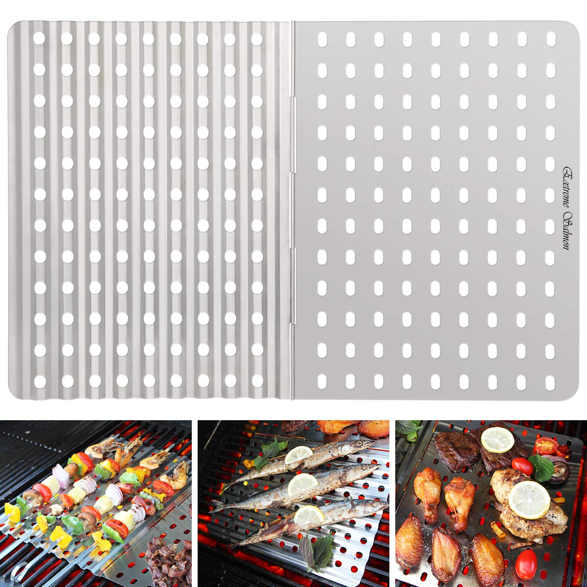 Extreme Salmon Grill Mat, BBQ Grill Mats Grilling Replacement Stainless Steel Grill Tray Grid Reusable Barbecue Grill Accessories for Grilling Meat Vegetables for Gas Charcoal Grill Oven Smoker by Extreme Salmon