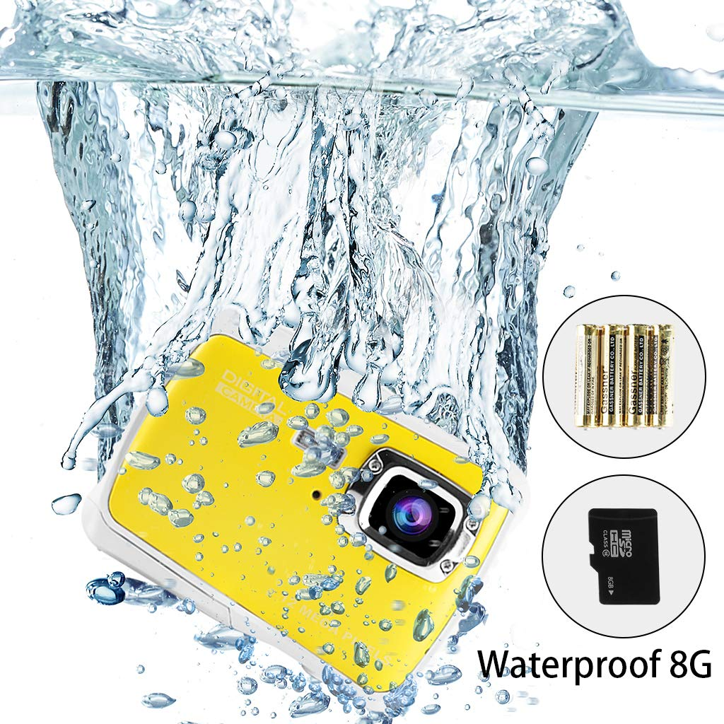 Underwater Camera for Kids, Waterproof Digital Camera Children Gift Mini Action Sport Camcorder 12MP HD/2.0 Inch LCD Display/8X Digital Zoom with 8GB SD Card & Batteries by Jamal (Image #1)