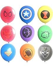 45 Piezas Globos de látex de superhéroe, Suministros de Fiesta de cumpleaños para niños, Decoraciones de Globos de superhéroe Vengadores (9 Globos de Colores)