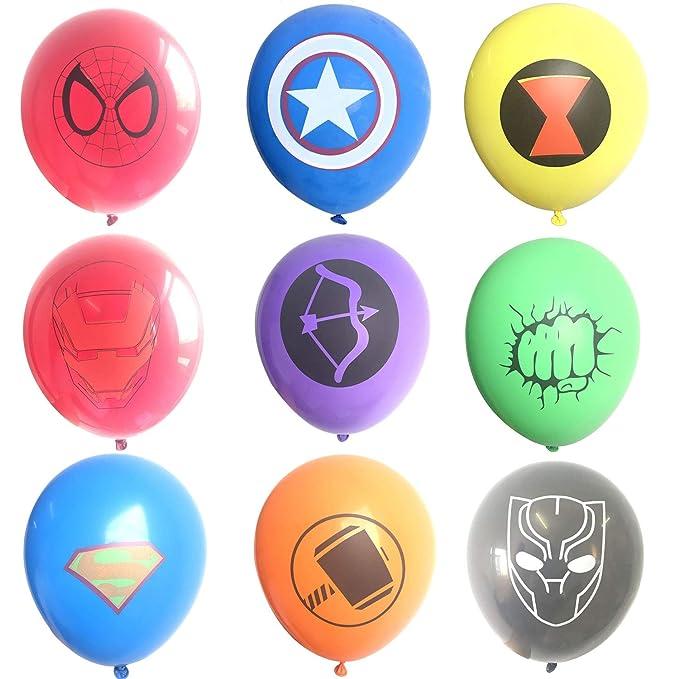 45 Piezas Globos de látex de superhéroe, Suministros de Fiesta de cumpleaños para niños, Decoraciones de Globos de superhéroe Vengadores (9 Globos de ...