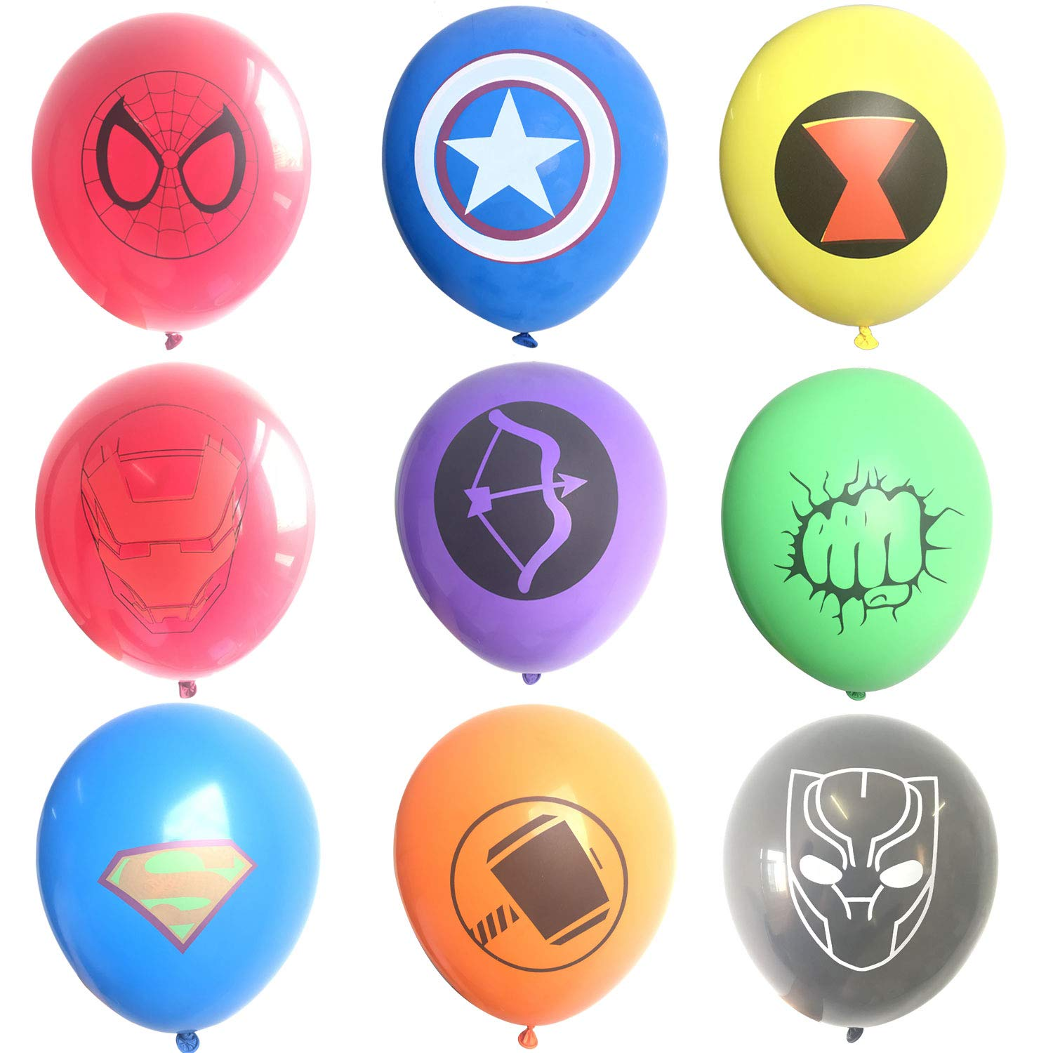 45 Pcs Superhero Latex Balloons,Children's Birthday Party Supplies,Avenger Superhero Balloon Decorations(9 Color Balloons)