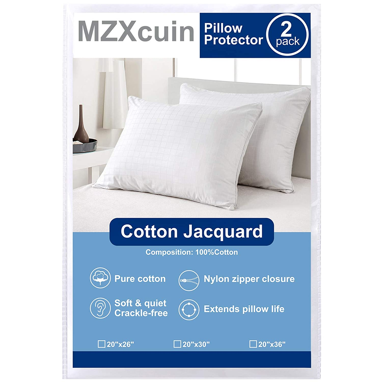 MZXcuin 2-Pack 100% Cotton Pillow Protectors Zipper Pillowcases, Premium Allergy Dust Mite Bed Bug Control – Anti-Microbial 300 Thread Count Pillow Covers( Standard 20