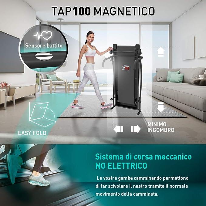 Cinta de correr magnética plegable, sensor cardíaco, monitor LCD ...