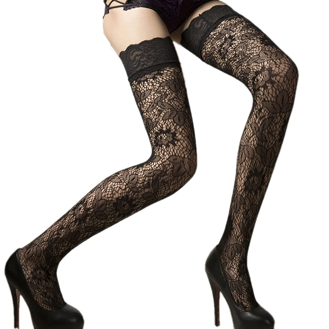 18MM Sexy Womens ladies Black Sheer Floral Lace Top Thigh High Stockings Hosiery