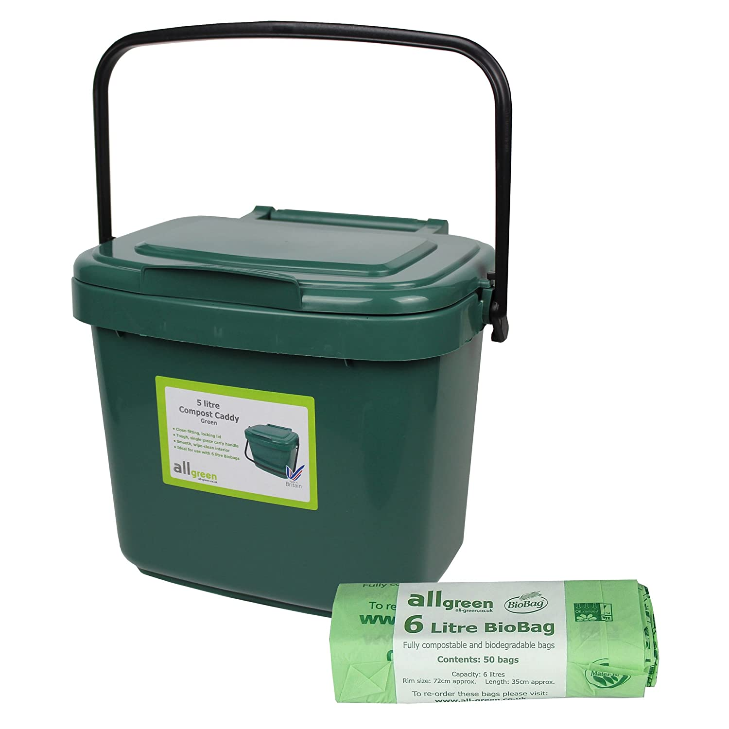 green kitchen post caddy 5l small 50x biobags for food