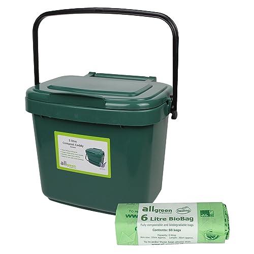 green kitchen compost caddy 5l small 50x biobags. Black Bedroom Furniture Sets. Home Design Ideas