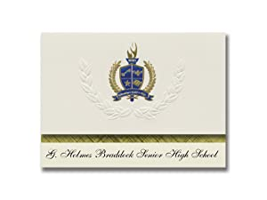 Signature Announcements G. Holmes Braddock Senior High School (Miami, FL) Graduation Announcements, Presidential Elite Pack 25 with Gold & Blue Metallic Foil seal