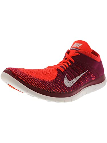 detailed look b6b17 2feb3 Amazon.com   Nike Women s Free Flyknit 4.0 Bright Crimson White - Raspberry  Red Ankle-High Fabric Running Shoe 12M   Fashion Sneakers