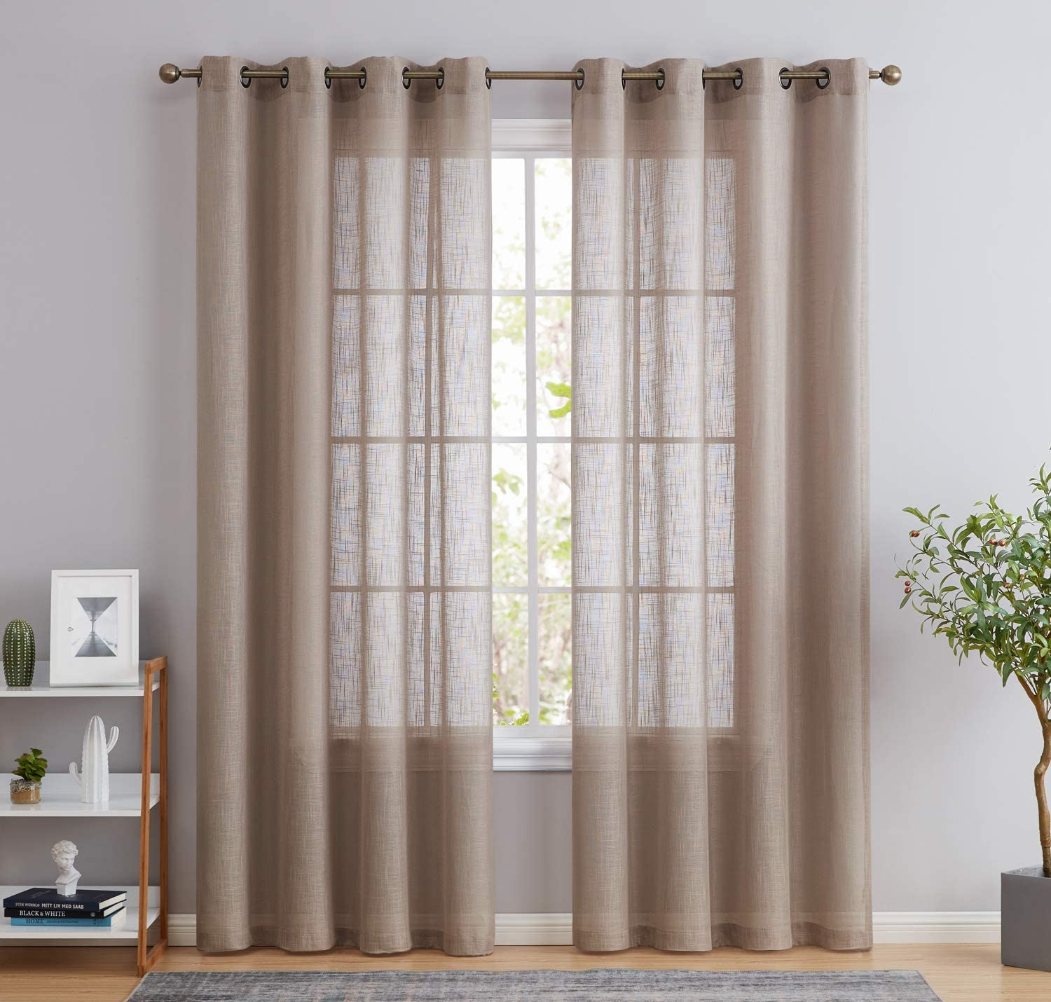 HLC.ME Abbey Faux Linen Textured Semi Sheer Privacy Sun Light Filtering Transparent Window Grommet Short Thick Curtains Drapery Panels for Office & Living Room, 2 Panels (54 W x 63 L, Taupe)
