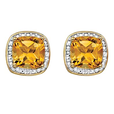 637dbb9cf Amazon.com: Genuine Yellow Citrine and Diamond Accent 14k Gold-Plated .925  Silver Halo Stud Earrings: Jewelry