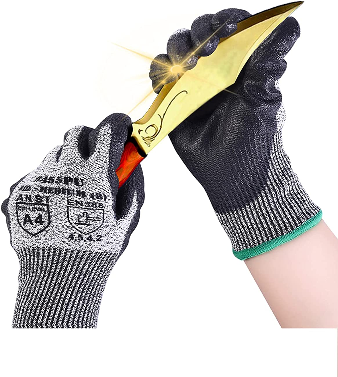 Donfri Cut Resistant Gloves 3 Pairs Level 5 Protection Safety Work Gardening Food Grade Wood Carving EN388 PU Coated Durable